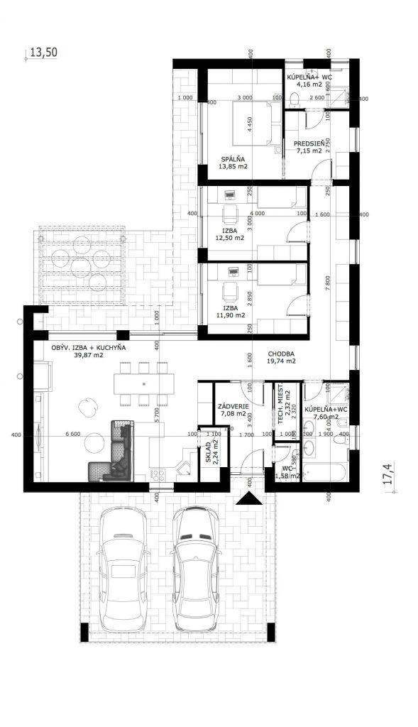 Projekt Domu 4 Izbový Bungalov Maurizia Domprojekt